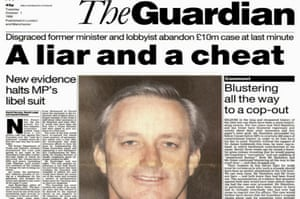 Guardian front page on Neil Hamilton in October 1996