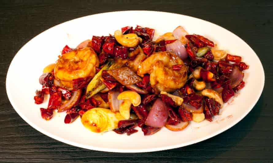 'One of the more interesting dishes': prawns with chilli and cashews.
