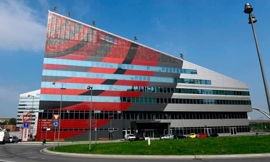 """Casa Milan, Milan's headquarters, before a press conference with the Chinese investors """"Rossoneri Sport Investment Lux"""" on April 14, 2017 in Milan."""