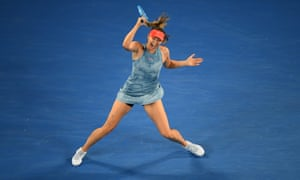 Maria Sharapova in action during her victory over Caroline Wozniacki in the third round of the Australian Open.