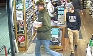 CCTV footage of missing Belgian backpacker Theo Hayez (right) in a Byron Bay bottle shop the night he disappeared.