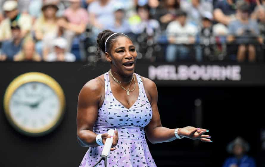 Serena Williams celebrates after winning a point against Anastasia Potapova in her 6-0, 6-3 victory.