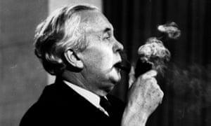 Harold Wilson smokes his pipe