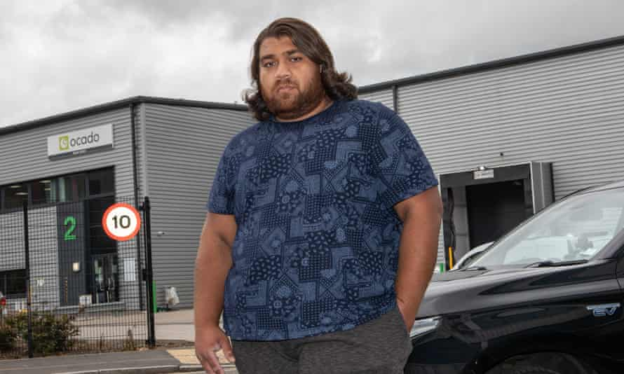 Ocado Zoom delivery driver Faizan Babar outside the company's depot in Acton, west London, on Friday.
