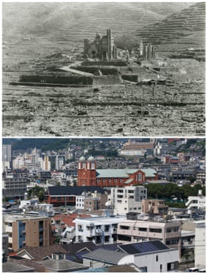 The Urakami Cathedral which was destroyed in Nagasaki on 9 August