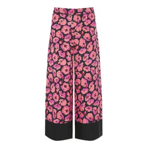 flared trousers with flower pattern and wide black hemline, pink, orange, black, Warehouse