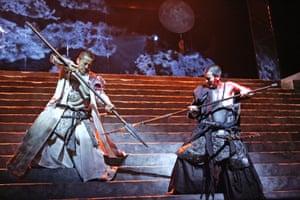 Toshiaki Karasawa, right, as Coriolanus in a version by the Ninagawa company at the Barbican, London, in 2007.
