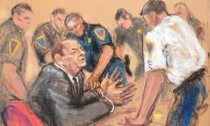 A courtroom sketch of the moment Weinstein was handcuffed after the guilty verdict.