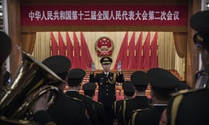Members of the Chinese military band rehearse before the closing meeting of the NPC in Beijing