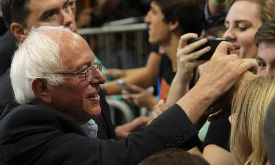 Bernie Sanders shakes hands with supporters following a rally in Albuquerque, New Mexico.