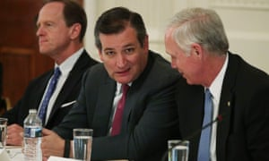 U.S. Sen. Pat Toomey (R-PA), Sen. Ted Cruz (R-TX) and Sen. Ron Johnson (R-WI) wait for the beginning of a meeting with U.S. President Donald Trump at the East Room of the White House June 27, 2017 in Washington, DC. Ted Cruz loves the climate myth debunked by Santer et al. (2017)
