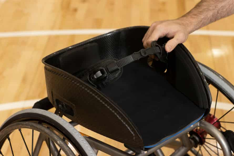 A custom-made seat on a wheelchair at the Rollers selection and training camp at the AIS in Canberra.