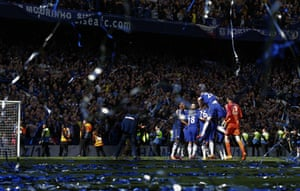 Chelsea players celebrate the title