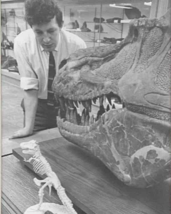 Brian Gardiner in the early 1960s examining a Canadian dinosaur