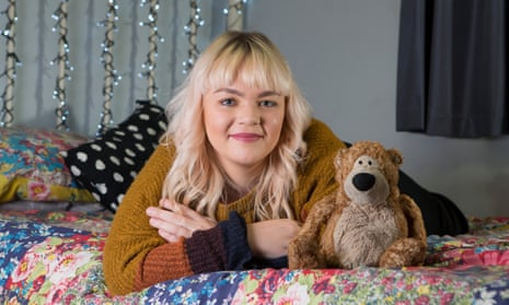 Emily Dove (26) with her teddy bear called Ted that she takes away on holiday. Emily Dove is photographed at her home in Leeds, North Yorkshire.