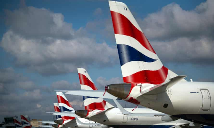 A line of British Airways planes at London City Airport