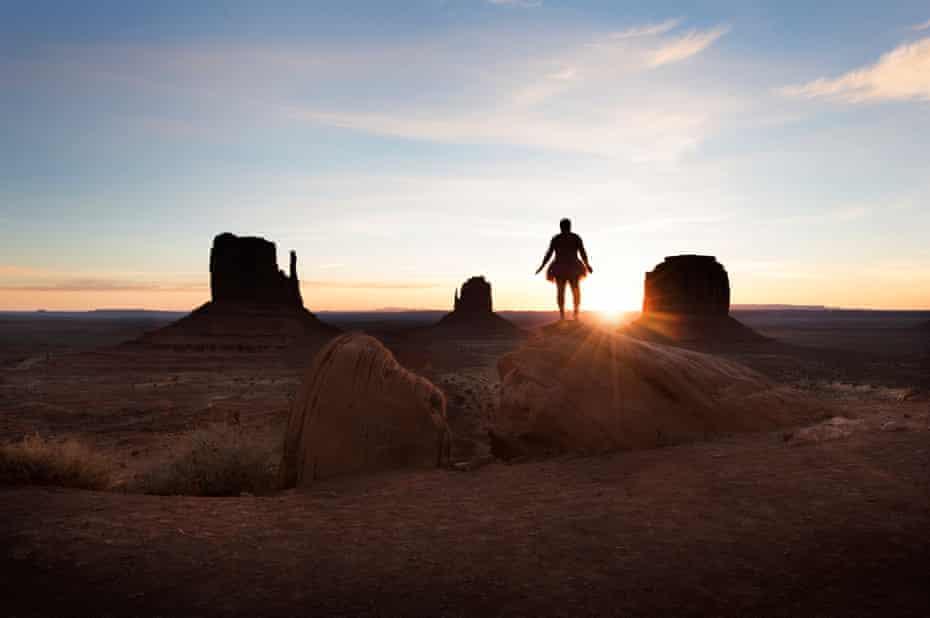 utah desert rocks man tutu sunset sunrise