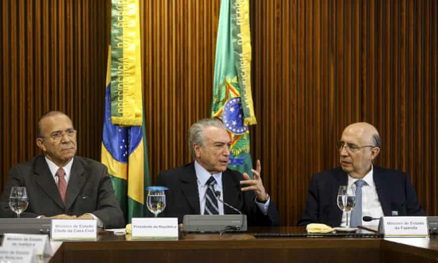 Interim president Michel Temer (center) quickly showed his conservative instincts with a mostly white lineup of ministers that included a creationist in the top education post, a soy baron in charge of agriculture, and a finance minister who immediately declared the need for sweeping cuts.