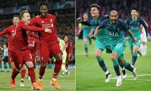 Divock Origi celebrates scoring Liverpool's fourth goal against Barcelona (left) whilst Lucas Moura celebrates scoring Spurs' last minute winner against Ajax.