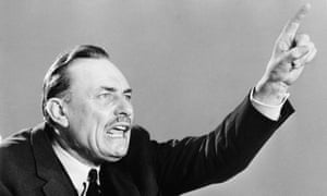 Enoch Powell, with a contorted face and pointing his finger, speaking in Birmingham on 15 June 1970