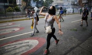 Protests in Caracas, Venezuela. President Maduro looks increasingly reluctant to allow the public to pass judgement on his rule.