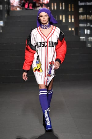 A model wearing a baseball dress by Moschino x H and M on the runway at New York fashion week, October 2018