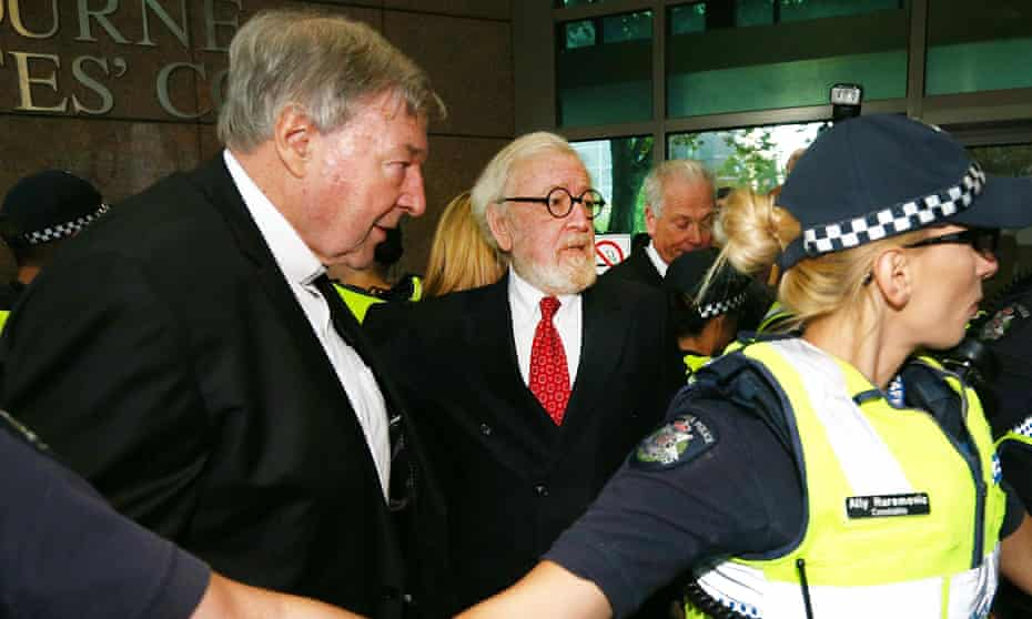 George Pell with his barrister Robert Richter at Melbourne magistrates court in 2018