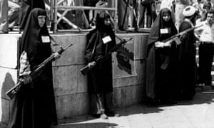 Armed women on guard in a Tehran square in 1979, during the early days of the Iranian revolution.