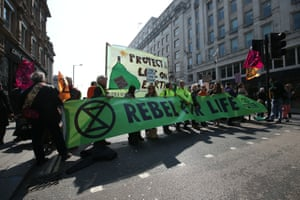 People protest during the Extinction Rebellion demonstration on Waterloo Bridge in London