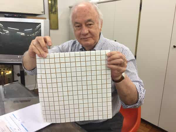 Semi-mythical status … Don Affonso displays samples of replacement tiles.
