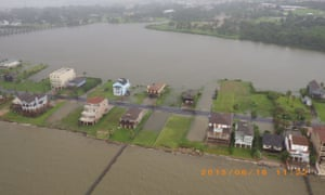 Flooding in Galveston, Texas, as seen from a Coast Guard helicopter after Tropical Storm Bill made landfall.