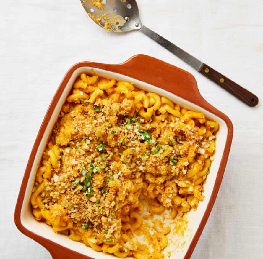 Meera Sodha uses cashews to create the creaminess in her macaroni with sweet potato and gochujang bake.