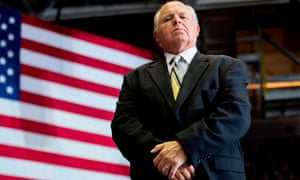Rush Limbaugh looks on before joining Donald Trump at a rally in Cape Girardeau, Missouri this month.