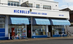 Facade of Nicholls Ice Cream Parlour Parkgate Wirral Cheshire UK.