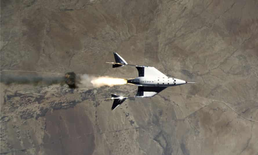 The VSS Unity rocket ship and VMS Eve over Spaceport America, New Mexico.