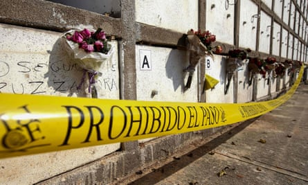 The crypts of bodies in a separate incident in Guadalajara in 2018. The Jalisco gang appears to have returned to showy killings as a way to intimidate rivals.