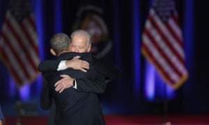 Barack Obama embraces Joe Biden after Obama delivered his farewell speech to the nation.