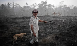A Brazilian farmer Aurelio Andrade and his dog walk through a burnt area of the Amazon rainforest, near Porto Velho, Rondonia state, Brazil, on August 26, 2019.