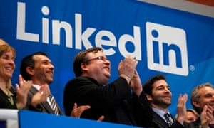 LinkedIn founder Reid Hoffman, centre, at the company's IPO in New York in 2011.