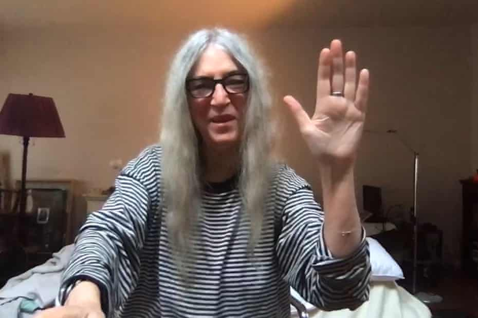Patti Smith performing her poetry online.