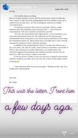Instagram story from Azealia Banks.