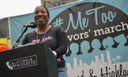 Burke speaks at a rally in Hollywood, California.