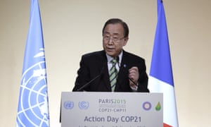 "Ban Ki-moon delivers a speech during ""action day"" at the Paris climate change conference."