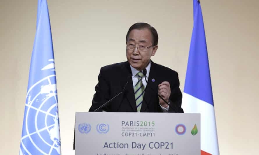 """Ban Ki-moon delivers a speech during """"action day"""" at the Paris climate change conference."""