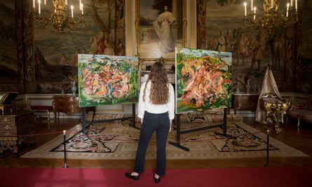 Brown's works There'll Be Bluebirds, left, and Spot the Spaniel on display at Blenheim Palace.