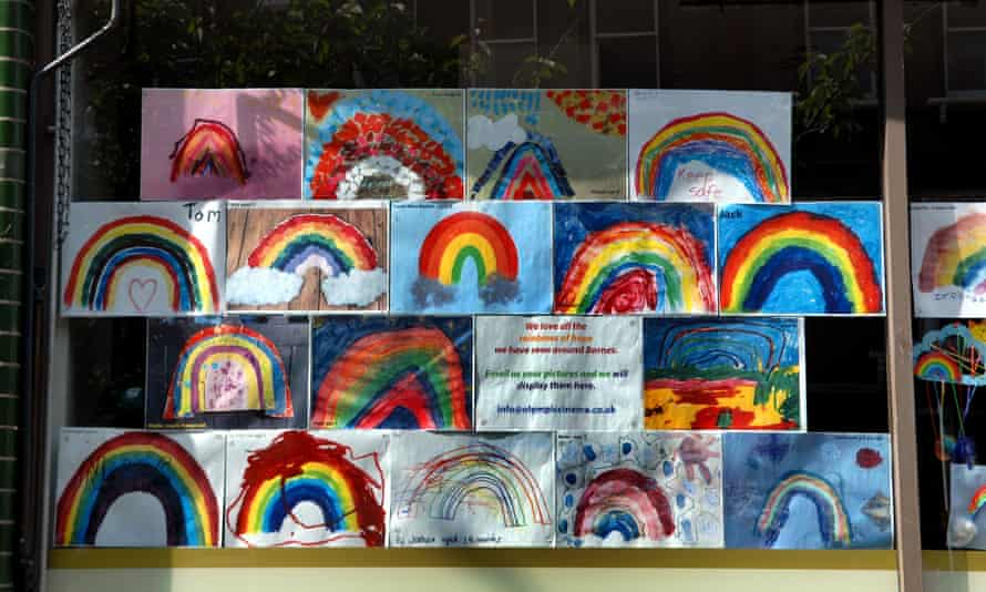 Rainbow pictures in the front window of Olympic Studios cinema in Barnes
