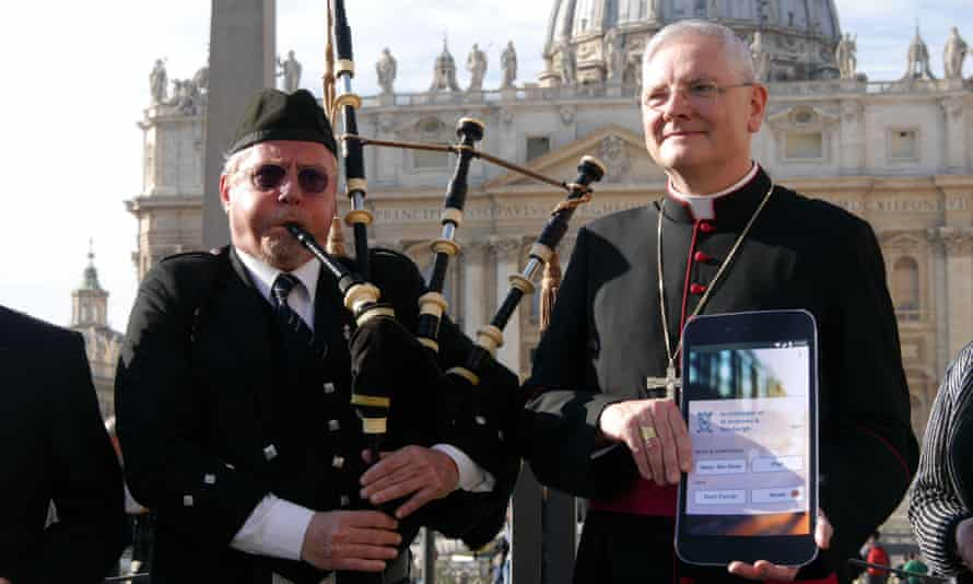 Leo Cushley, archbishop of St Andrews and Edinburgh, launches the Catholic App in Vatican City on Tuesday.