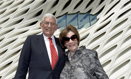 Eli and Edythe Broad in front of the museum housing their art collection.