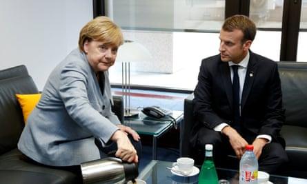 Merkel and Macron at an EU summit last month.