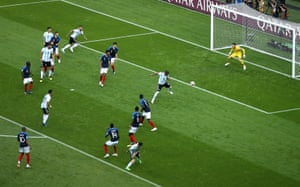 Argentina's Gabriel Mercado scores their second goal.